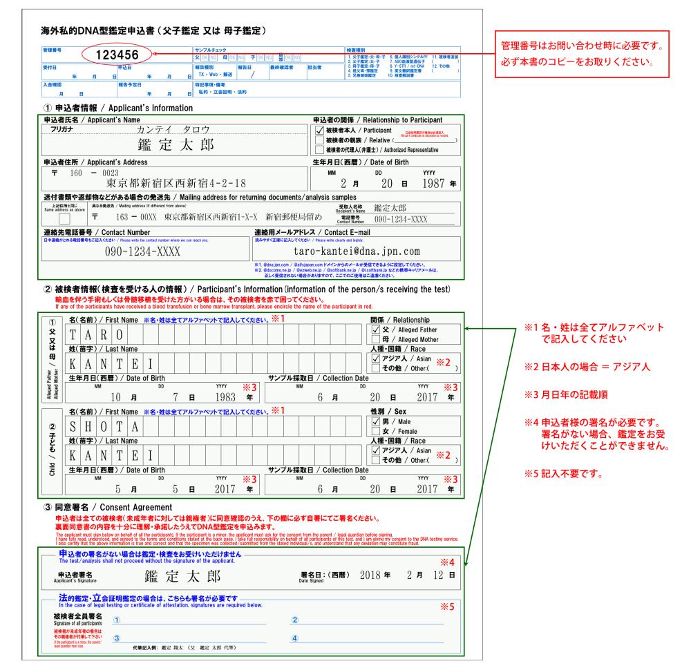 海外検査の申込書記入例
